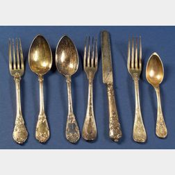 Group of Seven Continental Gold Washed Silver Flatware Items