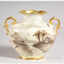 Hand-painted Beleek-type Vase