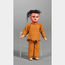 Armand Marseille Scowling Indian Bisque Character Doll and a Miniature Bisque   Shoulder Head Doll