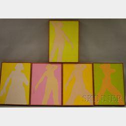 Reba Stewart  (American, 1930-1971)      Lot of Five Body Paintings