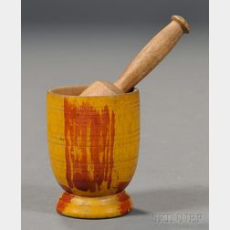Miniature Turned and Paint-decorated Wood Mortar and Pestle