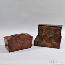 Regency Inlaid Mahogany Veneer Tea Caddy and a Victorian Lap Desk
