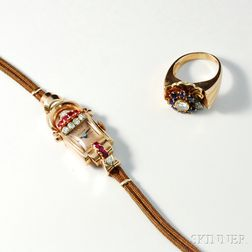14kt Rose Gold Retro Ring and Bulova Lady's Wristwatch