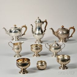 Assembled Eight-piece George IV Sterling Silver Tea and Coffee Service