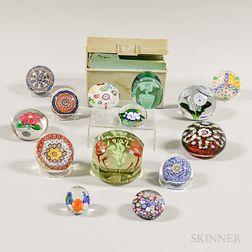 Fourteen Glass Paperweights