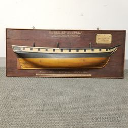 Carved and Painted Wood Half-hull Model of the U.S. Frigate Raleigh
