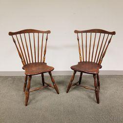 Near Pair of Fan-back Windsor Side Chairs