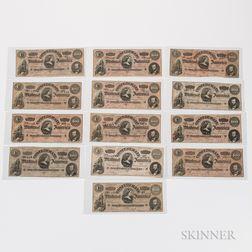 Thirteen 1864 Confederate $100 Notes, T65