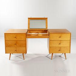 Two Paul McCobb for Planner Group Chests with Center Hanging Vanity