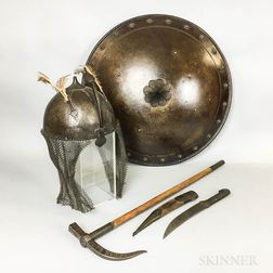 Middle Eastern Metal Helmet, Knife, Axe, and Shield.     Estimate $150-250