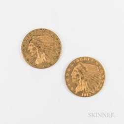 1912 and 1913 $2.50 Indian Head Gold Quarter Eagle