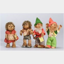 Four Steiff Mecki Family Dolls