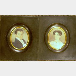 American School, 19th Century      Pair of Miniature Portraits of James M. Whiton and Mary F. Whiton of Boston.