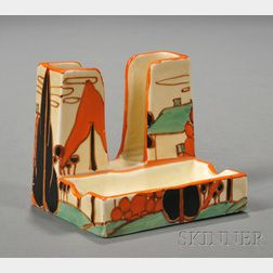 Clarice Cliff Fantasque Trees and House Pattern Cigarette/Ashtray Stand