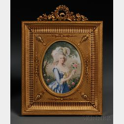 Framed Oval Portrait Miniature on Ivory