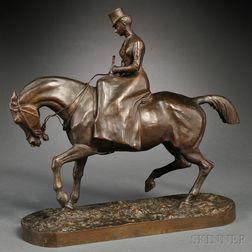 Comte Henri-Geoffroy de la Planche de Ruille (French, 1842-1922)       Bronze Model of a Lady Riding Side-saddle