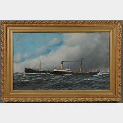 Antonio Nicolo Gasparo Jacobsen (Danish/American, 1850-1921)      Portrait of the Screw Steamer OREGONIAN.