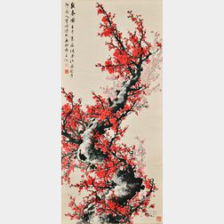 Hanging Scroll Depicting Plum Blossoms