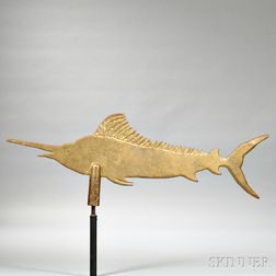 Cast White Metal Swordfish Weathervane