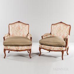 Pair of Louis XV-style Beechwood Bergeres