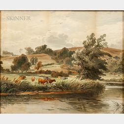 John Steeple (British, 1823-1887)      Near Arundel, on the Arun