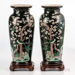Pair of Famille Noire Vases