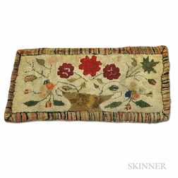 Pictorial Hooked Rug with a Basket of Flowers