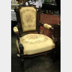 Victorian Louis XVI Style Tapestry Upholstered Carved Rosewood Armchair.