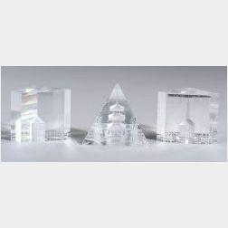 Three Architectural Art Glass Blocks