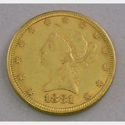 U.S. 1881 Ten Dollar Liberty Eagle Coronet Gold Coin.