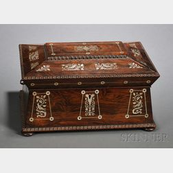 William IV Rosewood and Mother-of-pearl Inlaid Jewelry Casket