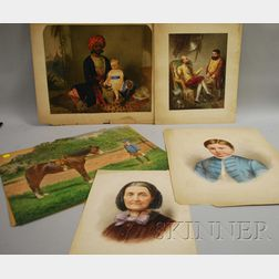 American School, 19th/20th Century      Lot of Five Portraits, Including Turk and Child