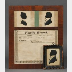 Framed Family Record with Silhouettes and Framed Silhouette of a Man