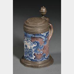 German Tin Glazed Humpen  -form Stoneware Tankard