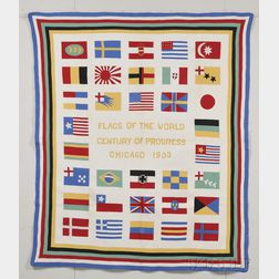 Pieced and Appliqued Cotton Chicago Century of Progress Flags of The World Quilt
