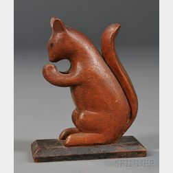 Painted Wood Squirrel Carving