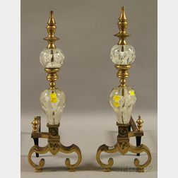 Pair of Colorless Floral Paperweight Art Glass-mounted Brass Andirons