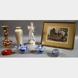 Seven Pieces of Asian and Asian-style Porcelain and a Framed Aquatint of Notre Dame