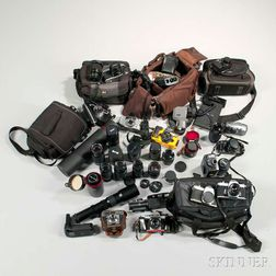 Large Group of Cameras and Lenses