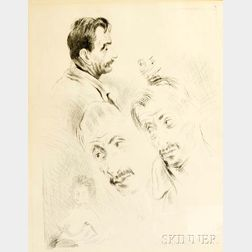 Raphael Soyer (American, 1899-1987)      Two Framed Lithographs: Gorky