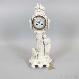 French Bisque Porcelain Mantel Clock