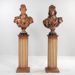Pair of Italian Terra-cotta Busts on Wood Pedestals