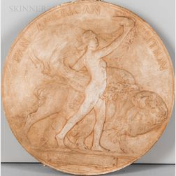 Hermon Atkins MacNeil (American, 1866-1947)      Maquette for the 1901 Pan-American Exposition Medal.