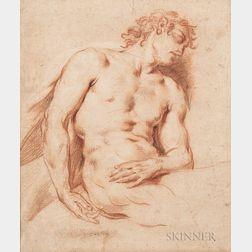 French School, 19th Century      Sleeping Male Nude