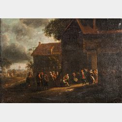Dutch School, 17th Century      Dancing and Conversation in the Light of an Open Tavern Door