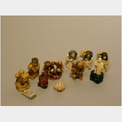 Ten Japanese Carved Ivory Netsuke.