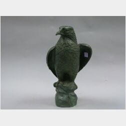 Patinated Bronze Figure of a Bird of Prey.