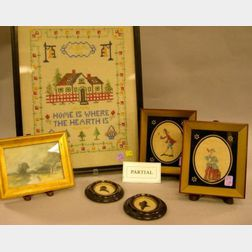 Three Framed Needlework Items, a Small Framed Painting, a Pair of Silhouettes, and a Framed Costume Illustration of Native of Tibet, F