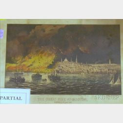 Three Framed Currier & Ives Lithographs of Fires in Boston, Chicago, and St. John.