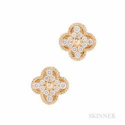 """Van Cleef & Arpels 18kt Gold and Diamond """"Vintage Alhambra"""" Earrings"""